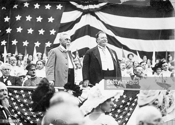 Ca 19081912William Howard Taft stands on an American flagdraped platform to campaign for his election to the Presidency