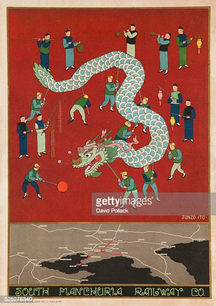 ca 1910 Travel poster showing route map of rail travel through North East China and a large group of traditionally dressed me carrying a Dragon Float