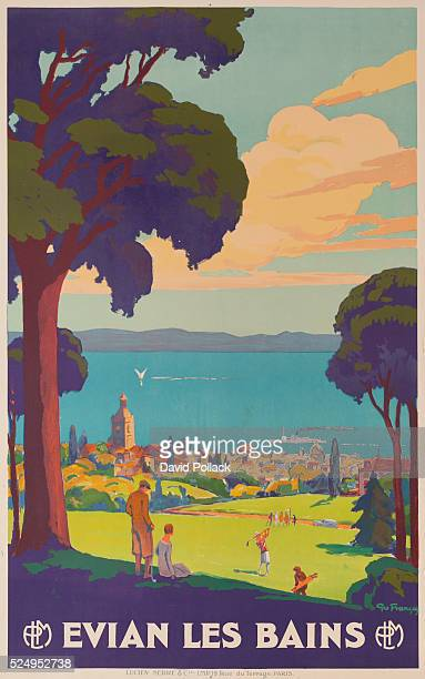 ca 1920s ca Geo Francois bucolic scene of golfers playing at seaside resort