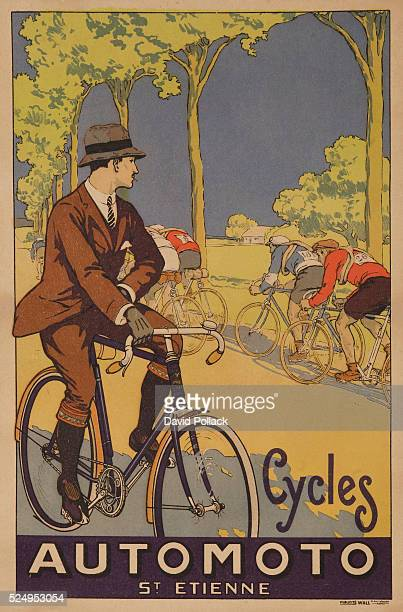 Ca 1920s Stylish man on pleasure ride watches as bicycle racing team passes by