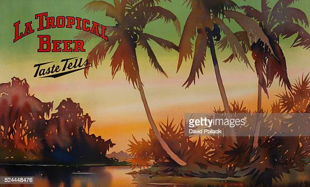 ca 1930s adverting poster with tropical scene of palm trees at sunset in an island paradise