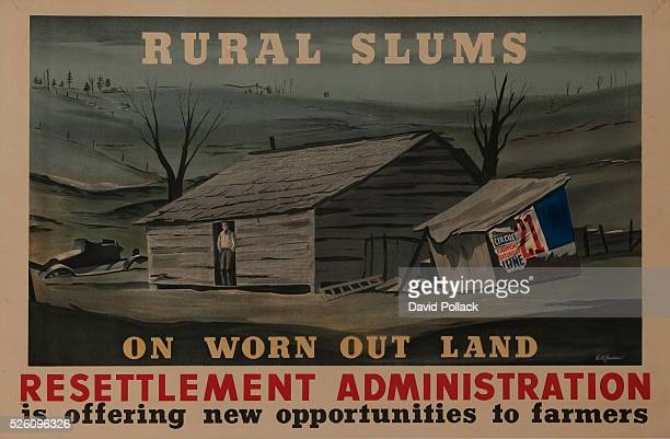 ca 1930s depression era Government propaganda poster illustrated by RH Jansen A dust bowl farmer stands in a desolate and barren farmhouse being...