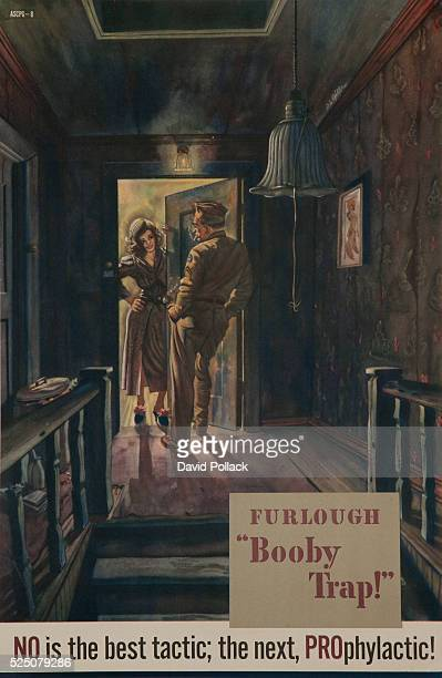 ca 1940s American venereal disease poster showing soldier at prostitute's doorway No is the best tactic the next Prophylactic abstinence first condom...