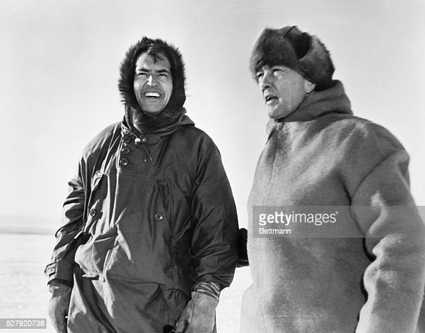 ca 1947 FROM GENDREAU NY Little America IV Ross Ice Shelf Bay of Whales Ross Sea Antarctica Dr Paul A Siple and Rear Admiral Byrd are pictured during...