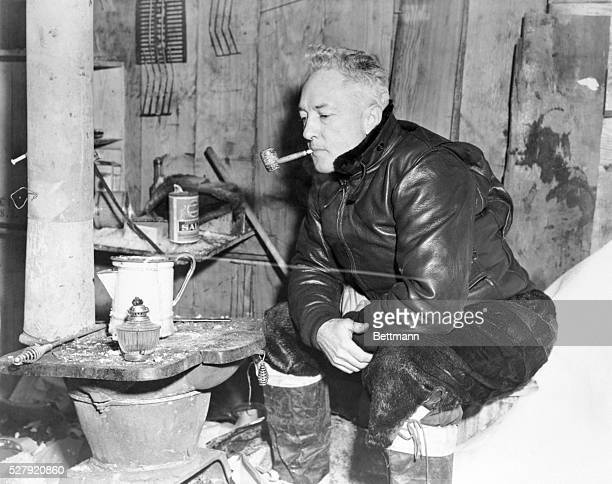 ca 1947Little America Ross Ice Shelf Bay of Whales Ross Sea Antarctica Rear Admiral RE Byrd officer in charge of 1947 Antarctic Developments Project...