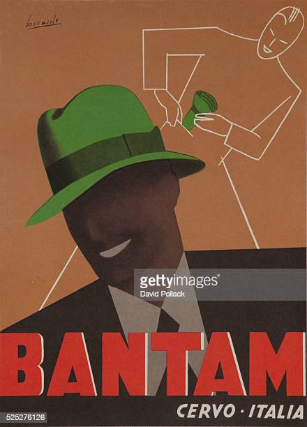 ca 1950s illustrated by Angelino Bocasilli a crushable green felt hat is worn by a stylish model