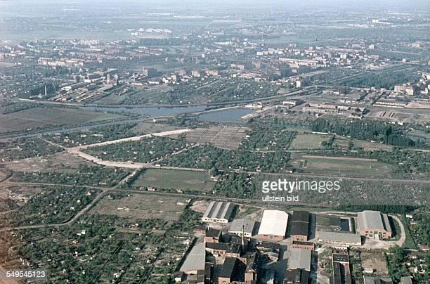 Ca. 1958, Berlin / Luftaufnahme, Teltowkanal, Hafen Britz Ost, Britzer Zweikanal