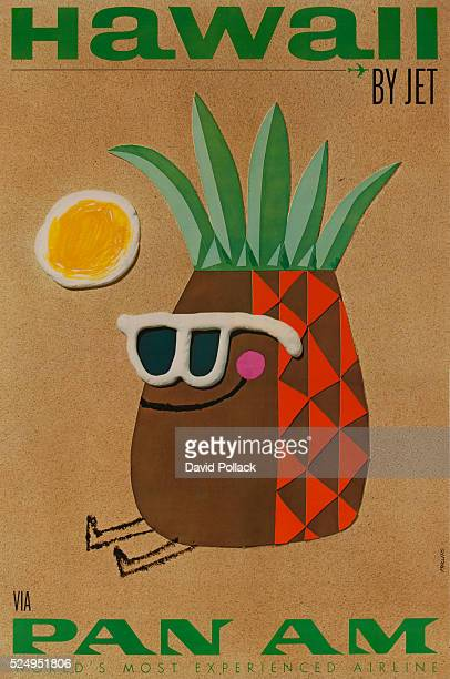 ca 1960s travel poster sunglasswearing pineapple catches some rays