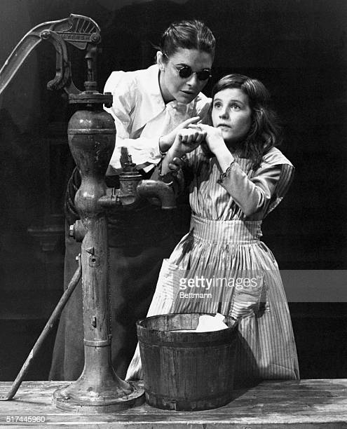 "Ca. 1960-Scene from the Broadway play, ""The Miracle Worker"" by William Gibson, starring Anne Bancroft as Anne Sullivan and Patty Duke as Helen..."