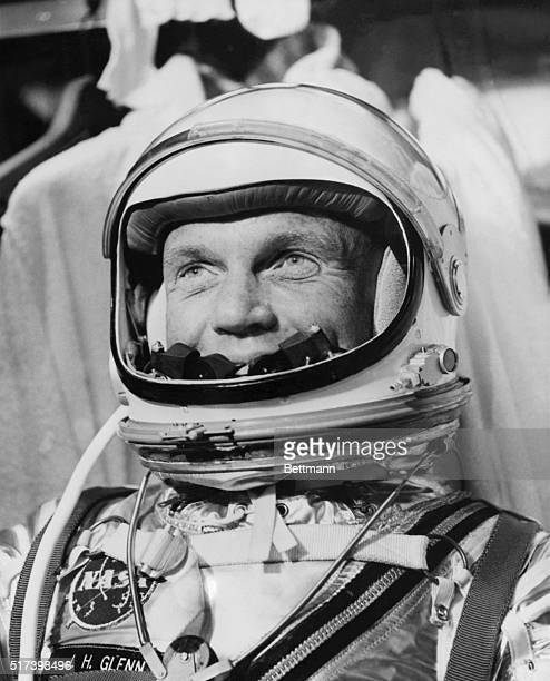 Ca 1961Cape Canaveral FloridaAstronaut John H Glenn Jr is checked out in his pressure suit before entering the procedures trainer at the Manned...