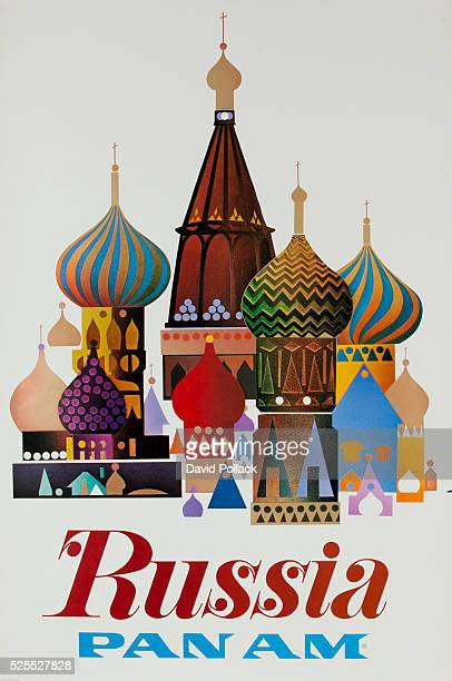 ca 1970s travel poster stylized graphic of onion domes