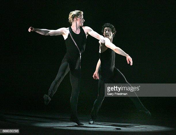 """Ca. – AUGUST 6, 2008 Ethan Stiefel and Herman Cornejo as the """"Rabbit"""" as the """"Rogue"""" as part of """"Rabbit and Rogue,"""" during the American Ballet..."""
