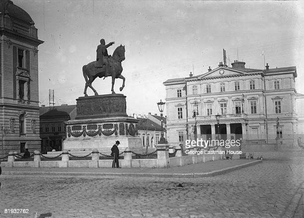 ca1910 A view of Republic Square in Belgrade Serbia A monument to Prince Michael dominates the square and the National Theater sits on right of the...
