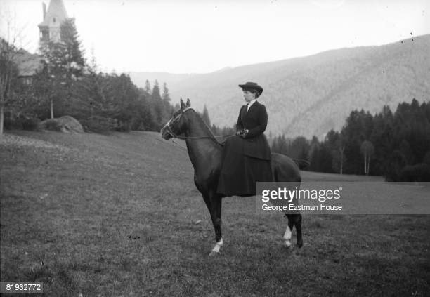 Ca,1910: Portrait of Queen Marie of Romania formerly known as Princess Marie of Edinburgh, She poses on horseback outdoors Romania