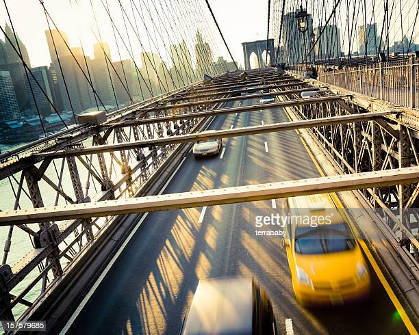 Cab and Cars on Brookyln Bridge