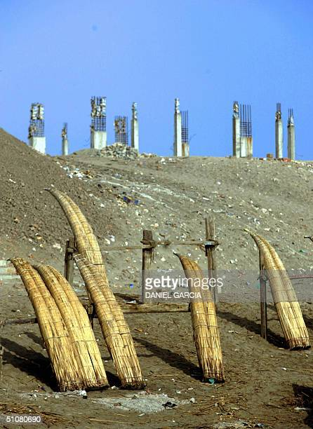 Caballitos de Totora are put to dry at the beach of Pimentel some 800 km to the N of Lima 16 July 2004 The Caballitos de Totora are built with...