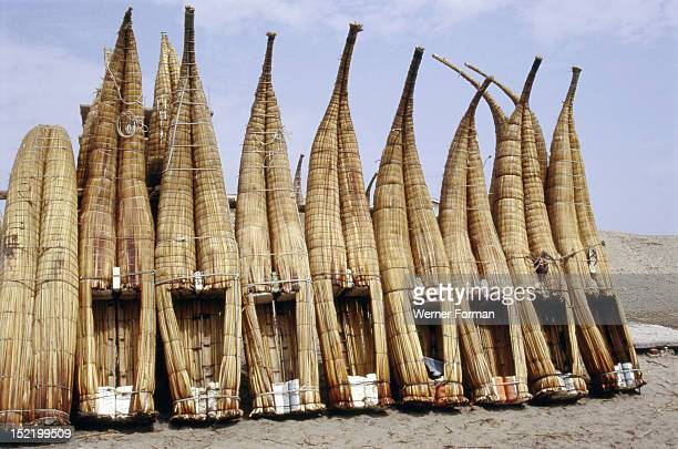 Caballitos little horses made of totora reed an ancient Peruvian type of boat It is still used by the fishermen on the north coast of Peru and shown...