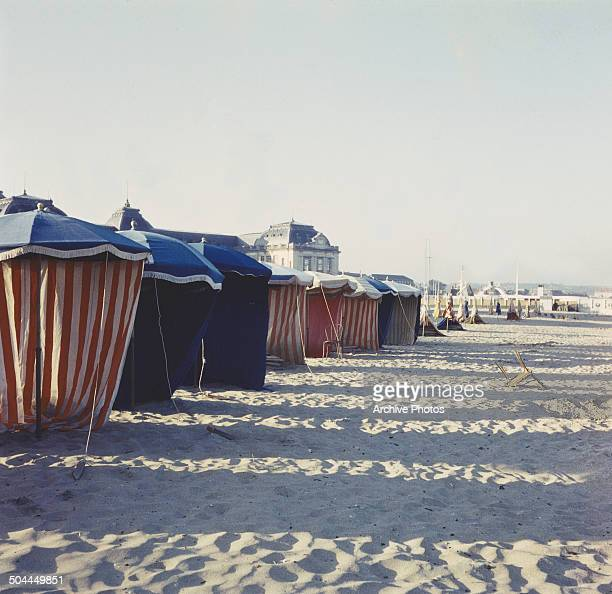 Cabanas on the beach at Deauville France circa 1965