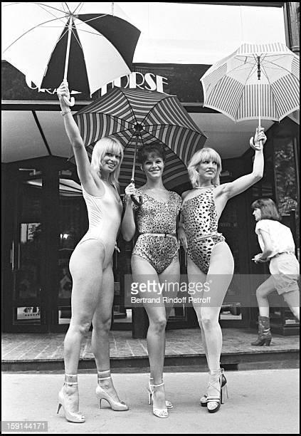 Cabaret dancers Lova Moor , Ulla Starlight and Monika Distingo in front of the Crazy Horse cabaret in Paris.