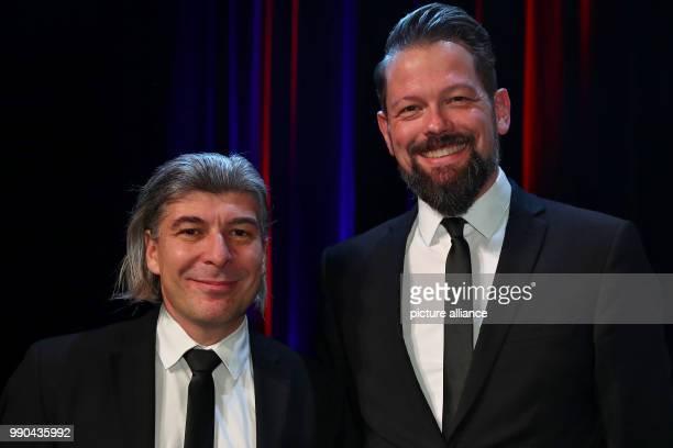 Cabaret duo ONKeL fISCH Adrian Engels and Markus Riedinger pictured during the Deutscher KabarettPreis 2017 ceremony at the Tafelhalle in Nuremberg...