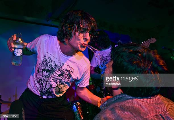 Cabbage frontman Joe Martin performs with the band at The Soup Kitchen on May 29 2016 in Manchester England