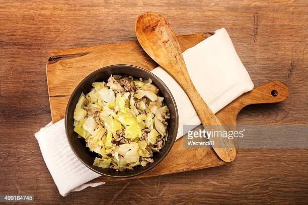 Cabbage mincemeat stew, elevated view