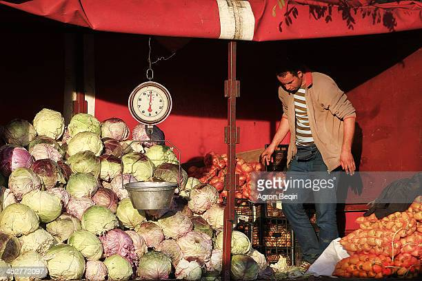 Cabbage seller in Mitrovica on Saturday, in this day known as the day of the market in Mitrovica, where people come from villages to sell their...