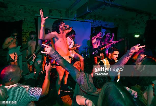 Cabbage singer Lee Broadbent performs with the band at The Soup Kitchen on May 29 2016 in Manchester England
