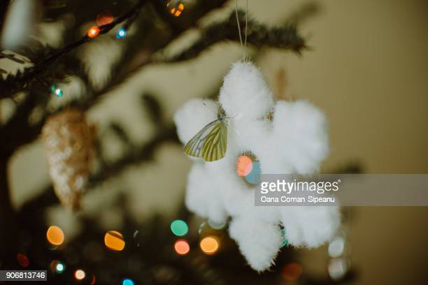 Cabbage white butterfly on snowflake-Christmas tree decoration