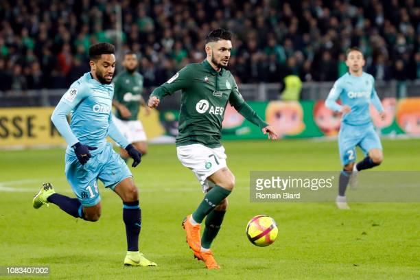 Cabella Remy of Saint Etienne and Amavi Jordan of Marseille during the Ligue 1 match between Saint Etienne and Marseille at Stade GeoffroyGuichard on...