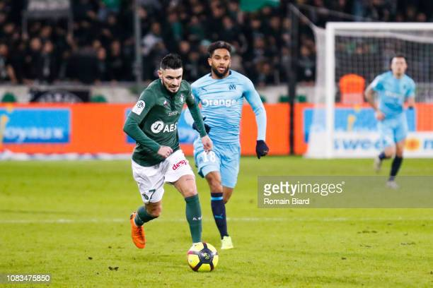 Cabella Remy of Saint Etienne and Jordan Amavi of Marseille during the Ligue 1 match between Saint Etienne and Marseille at Stade GeoffroyGuichard on...