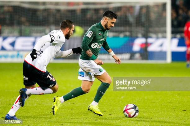 Cabella Remy of Saint Etienne and Marie Jordan of Dijon during the Ligue 1 match between Saint Etienne and Dijon at Stade GeoffroyGuichard on...