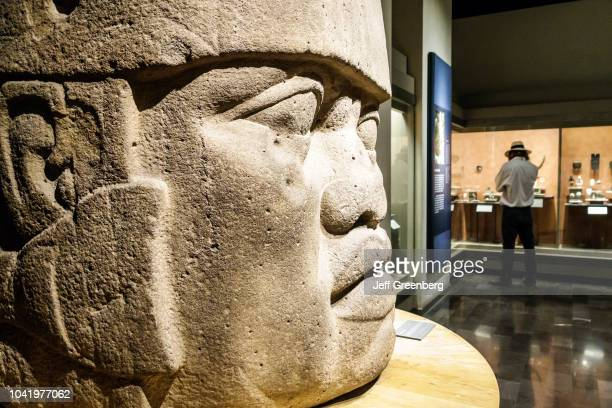 Cabeza Colosal monumental stone sculpture on display in the National Museum of Anthropology