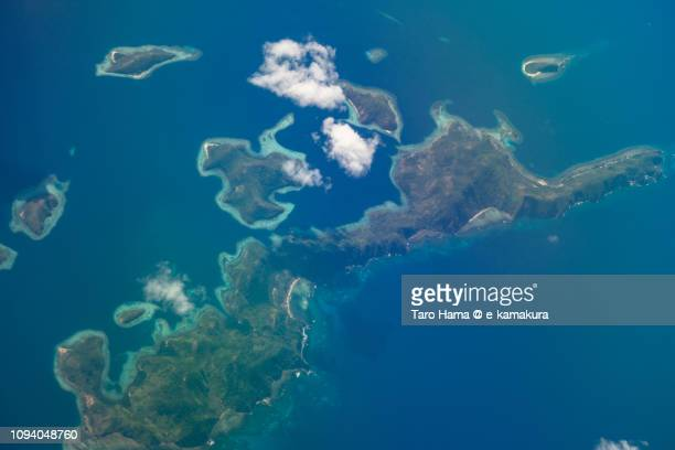 Cabilauan Island in Province of Palawan in Philippines daytime aerial view from airplane daytime aerial view from airplane
