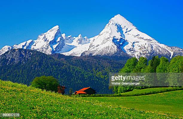Cabin Below Watzmann Mountain in Bavarian Alps
