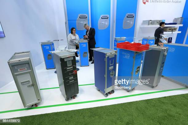 Cabin boxes manufactured by Diethelm Keller Holding Ltd. Sit on display at the Aircraft Interiors Expo in Hamburg, Germany, on Tuesday, April 4,...