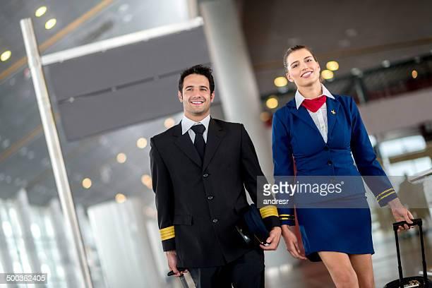 Cabin crew am Flughafen