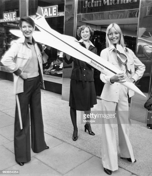Cabin crew members who work on the supersonic passenger aircraft Concorde, show off the new uniforms designed by Hardy Amies in London. The Concorde...