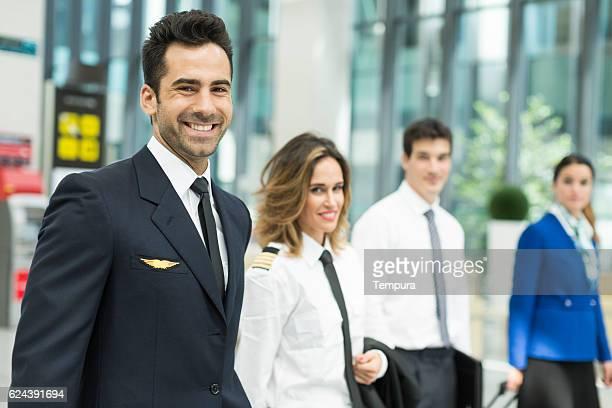cabin crew portrait looking at camera. - crew stockfoto's en -beelden