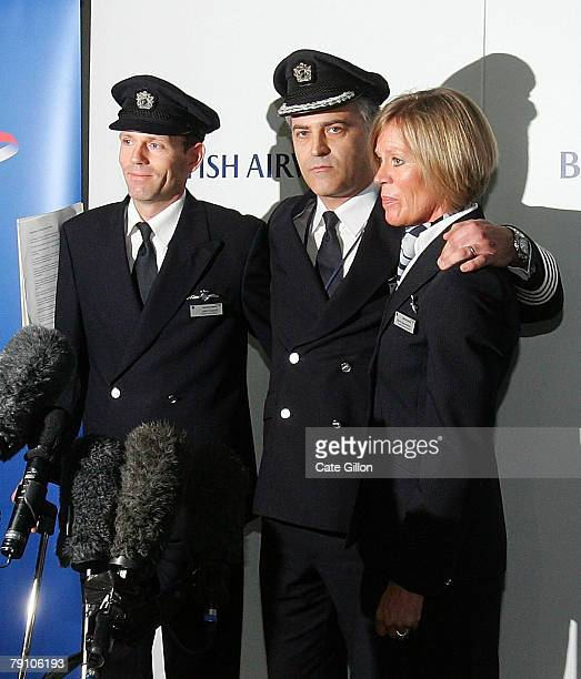 Cabin crew Senior First Officer John Coward Captain Peter Burkhill and Cabin Service Director Sharron EatonMercer pose on January 18 2008 in London...