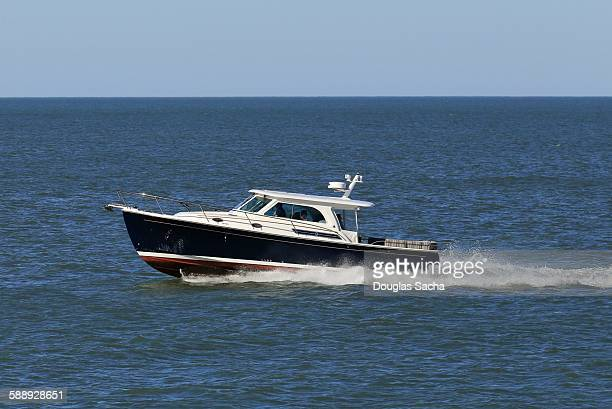 Cabin cruiser on the water