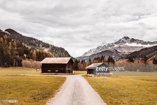 cabin in austria - chalet stock pictures, royalty-free photos & images