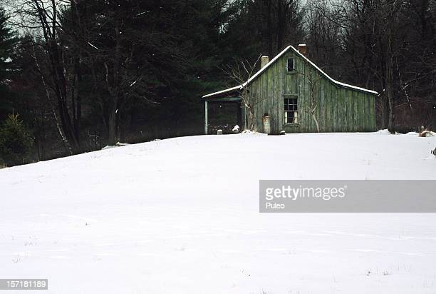 cabin in winter - cabin fever stock photos and pictures