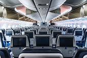 Cabin interior of a modern passenger aircraft (wide body)