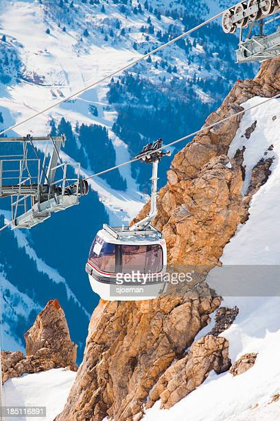 cabin lift in france - meribel stock photos and pictures