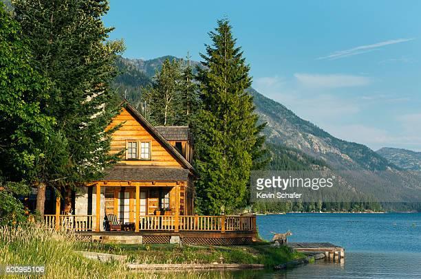 Cabin on shore, Stehekin, Lake Chelan, North Cascade Mountains, Washington USA