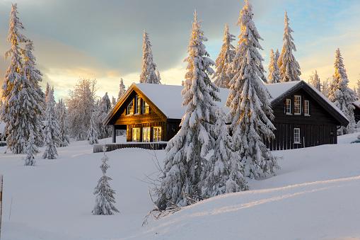 Cabin on snowy hill, Norway - gettyimageskorea