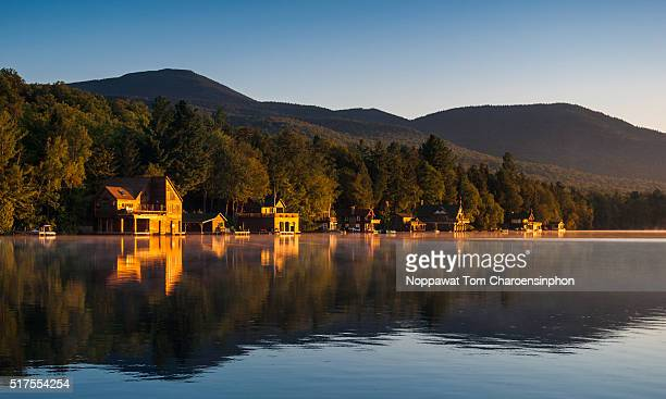 cabin retreat - brief - lake placid stock pictures, royalty-free photos & images