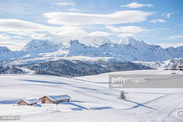 cabin retreat snowscape. get away ski weekend. dolomites - deep snow stock pictures, royalty-free photos & images