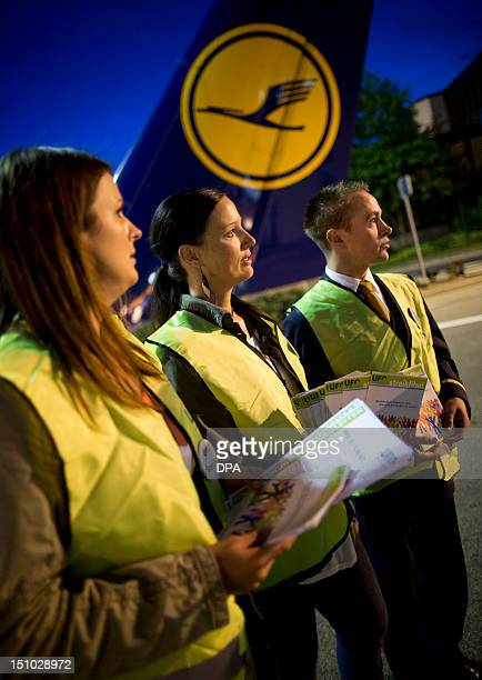 Cabin staff of German airline Lufthansa strike on August 31, 2012 at the airport in Frankfurt/M., western Germany. Lufthansa has been forced to...